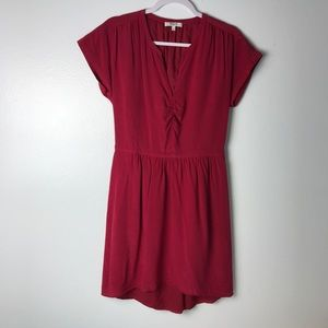 Madewell Cinched Waist Red Silk Dress